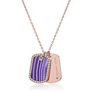 Michael Kors Pave & Agate Stone Dog Tags Necklace